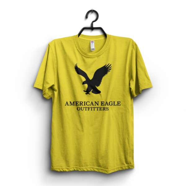 Yellow American Eagle Printed Cotton T shirt For Him