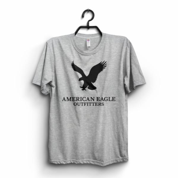 Heather Grey America Eagle Printed Cotton T shirt