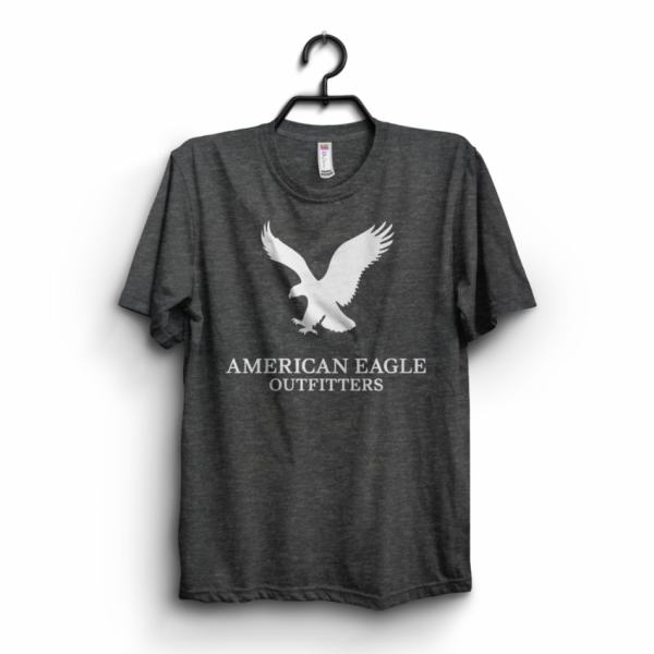Charcoal American Eagle Printed Cotton T shirt