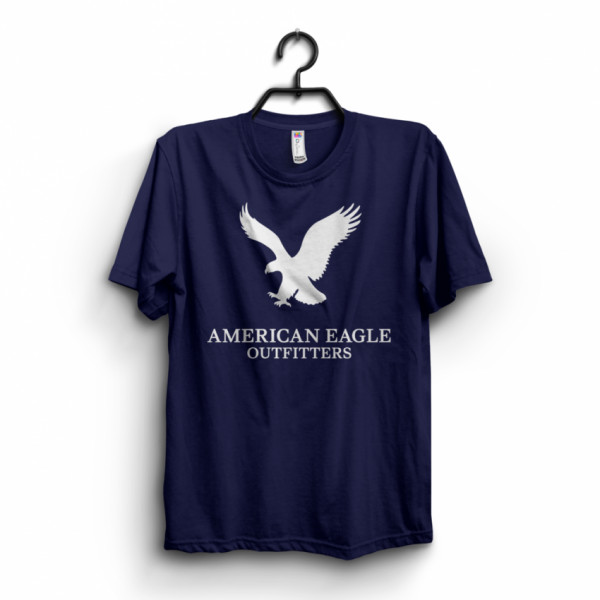 Navy Blue Exchange Printed Cotton T shirt For Him