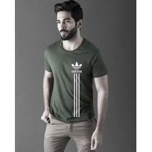Army Green Adidas Printed Cotton T shirt For Him