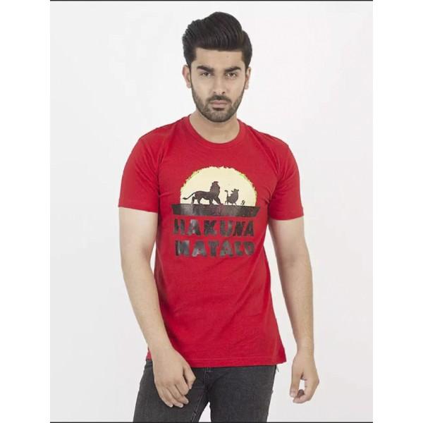 Red Hakuna Matata Printed Cotton T shirt For Him