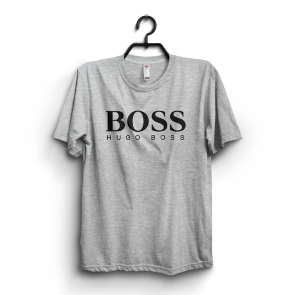 Heather Grey BOSS Printed Cotton T shirt For Him
