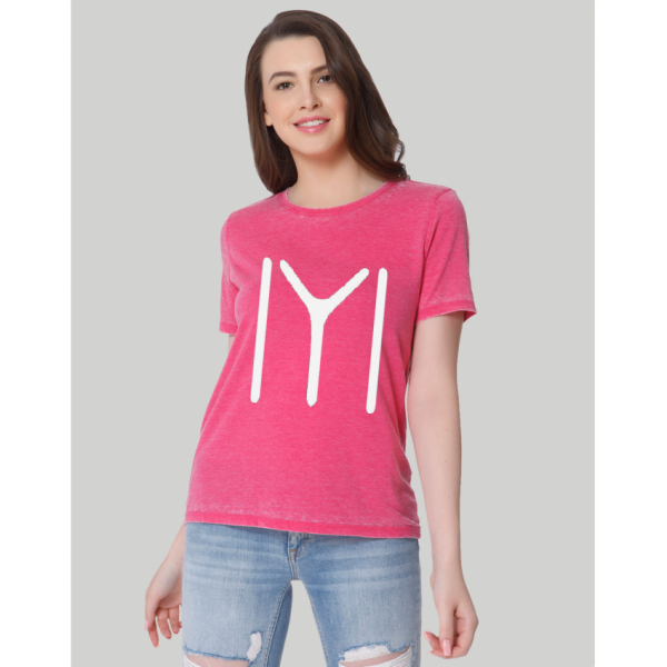 Pink Ertugrul Printed Cotton T shirt For Her