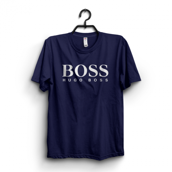 Navy Blue Boss Printed Cotton T shirt For Him
