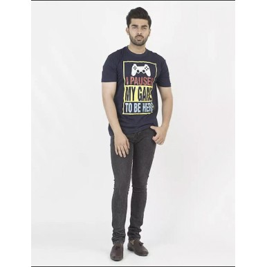 Navy Blue Pause Game Printed Cotton T shirt For Him