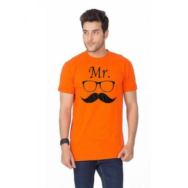 Orange Mr Mustaches Graphics T shirt
