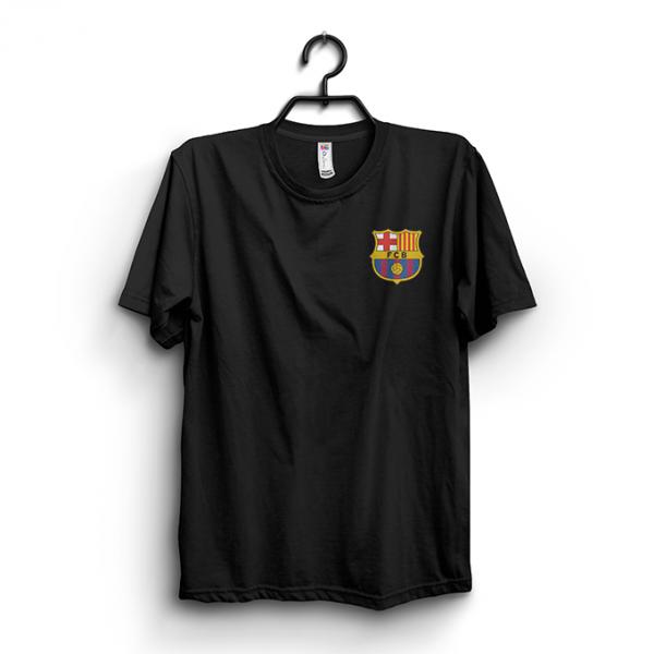 Black Barcelona Logo Printed Cotton T shirt For Him