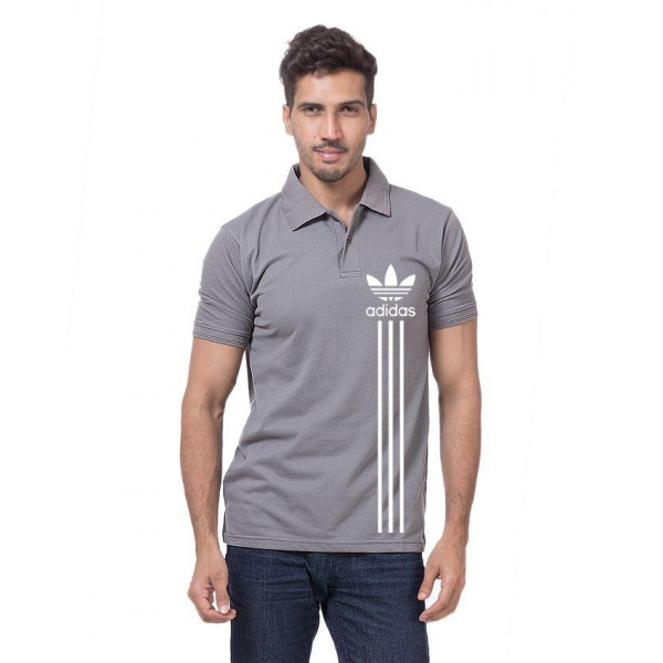 Steel Grey Printed Polo Shirt For Him