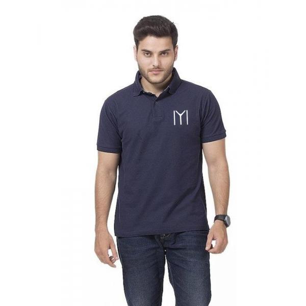 Navy Blue Ertugrul Logo Cotton Polo Shirt For Him