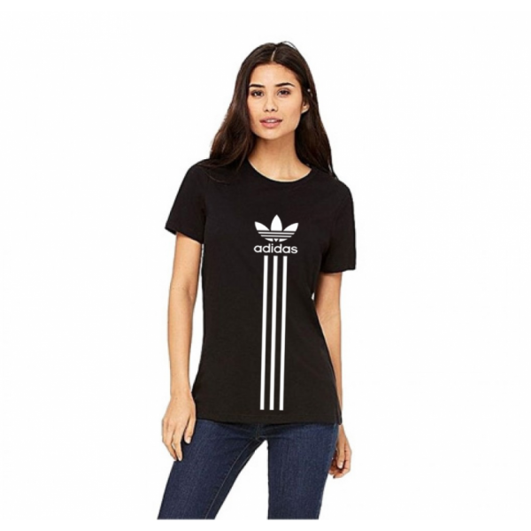 Black Printed Cotton T shirt For Her