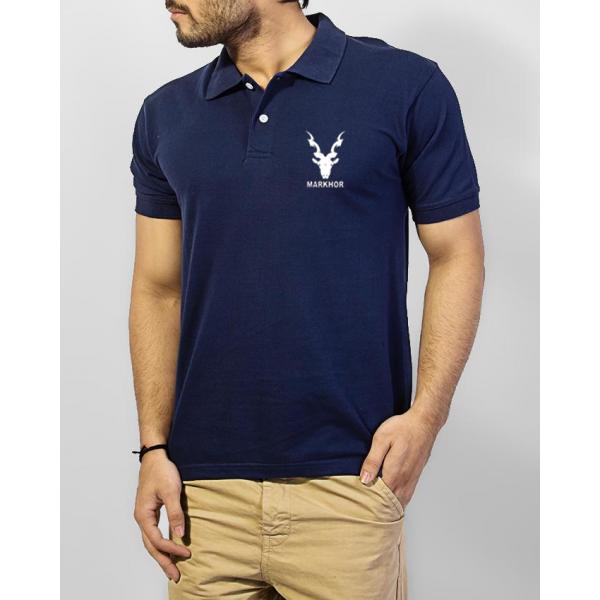 Navy Blue Markhor Logo Cotton Polo Shirt For Him