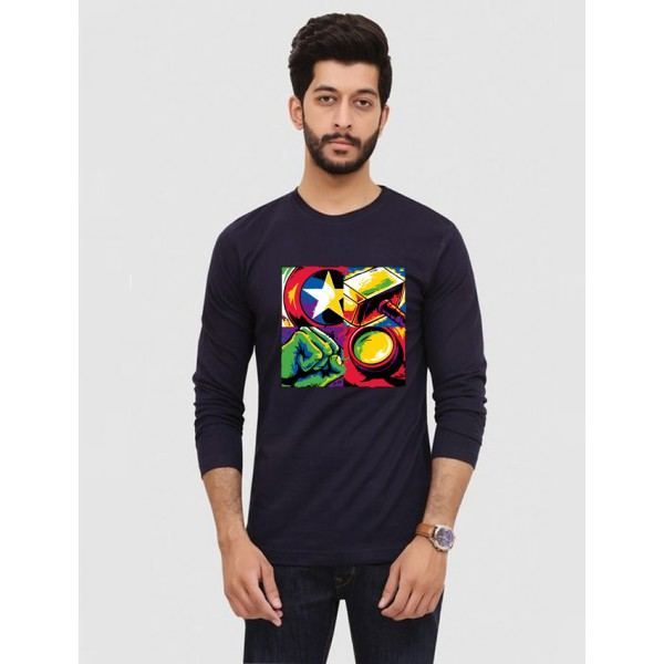 Navy Blue Super Heroes Printed Cotton T shirt
