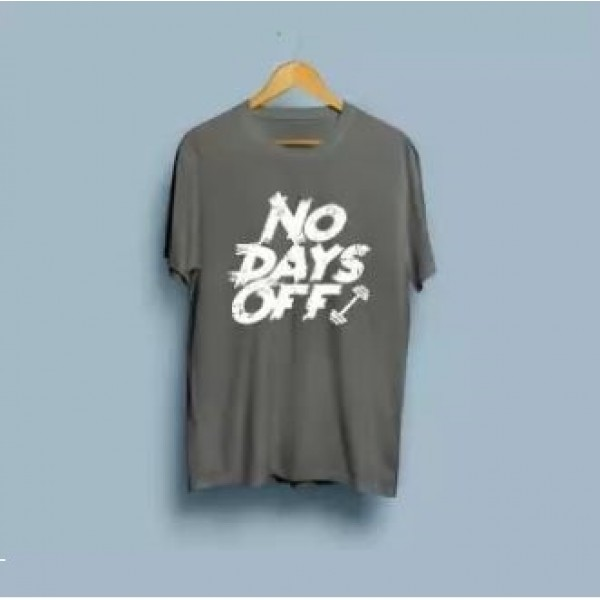 Steel Grey No Days Off Printed Cotton T shirt For Him