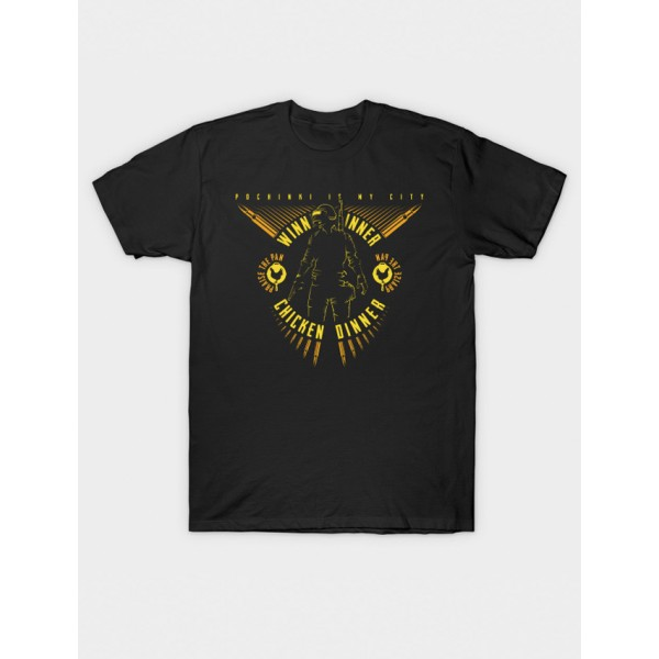 Unisex Black PUB-G Printed Cotton T shirt