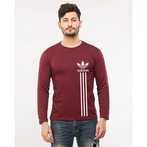 Maroon Full Sleeves Adidas Printed Cotton T shirt