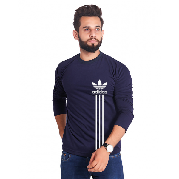 Navy Blue Full Sleeves Adidas Printed Cotton T shirt For Him