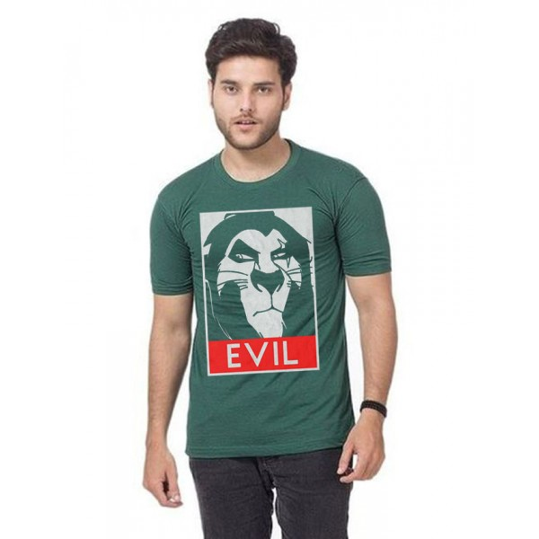 Green EVIL Printed Cotton T shirt For Him