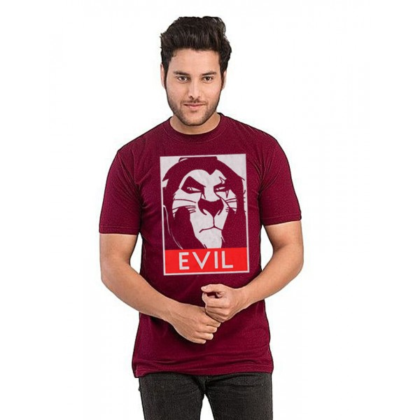 Maroon EVIL Printed Cotton T shirt