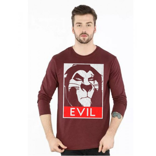 Maroon Round Neck Full Sleeves EVIL Printed T shirt