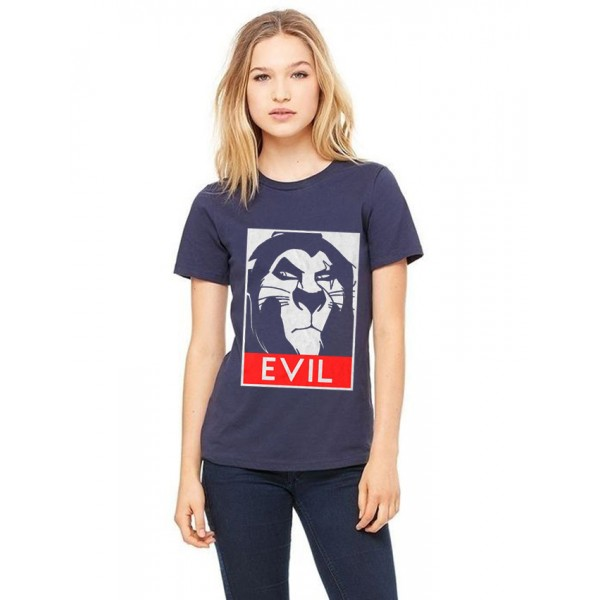Navy Blue Evil Printed Cotton T shirt For Her