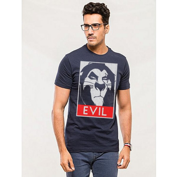 Navy Blue Evil Printed Cotton T shirt For Him