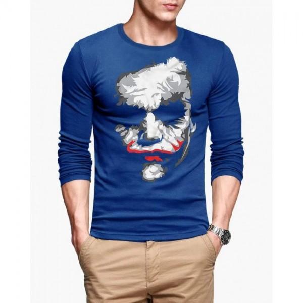 Royal Blue Full Sleeves Joker Printed Cotton T shirt