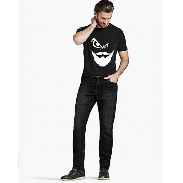 Black Angry Man Printed Cotton T shirt For Him