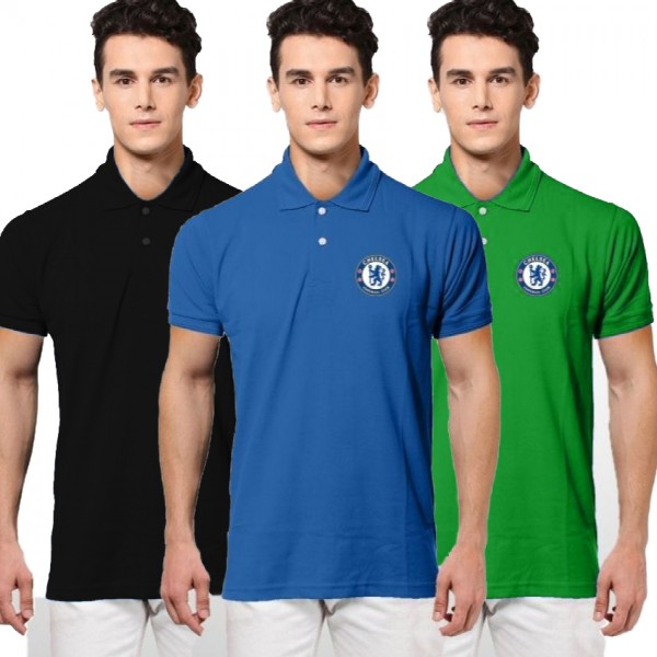 Pack of 03 Chalsea Logo Polo T shirts