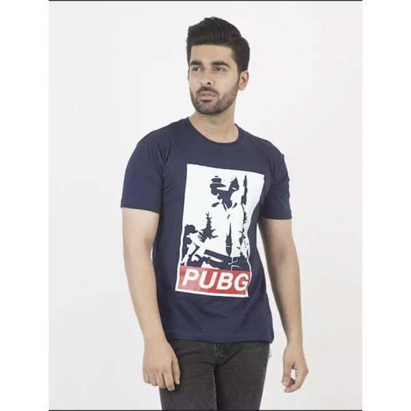 Navy Blue PUB-G Printed T shirt For Him