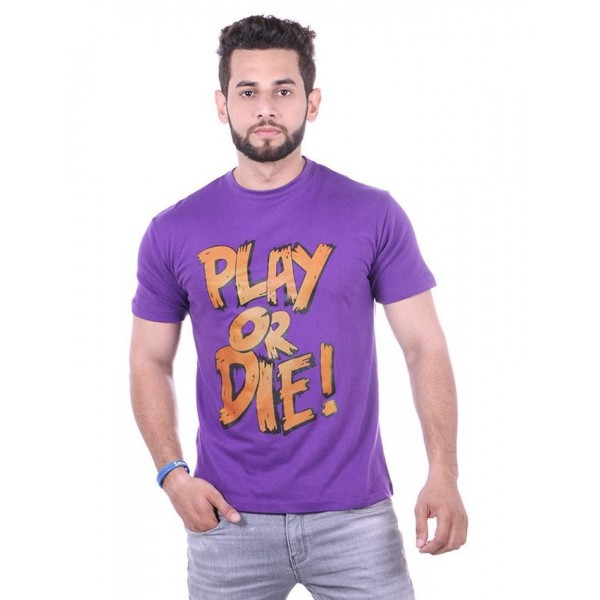 Purple Play Or Die Printed Cotton T shirt For Him