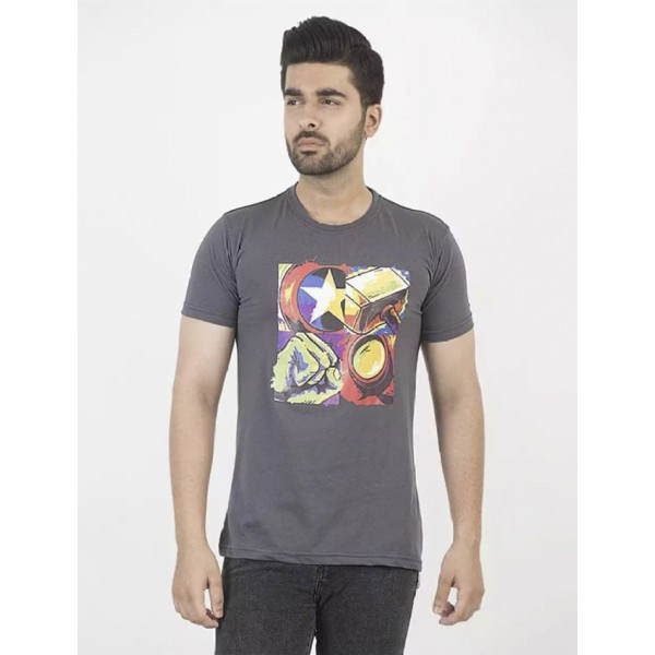 Steel Grey Super Heroes Printed Cotton T shirt