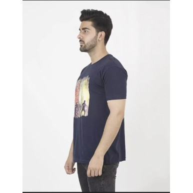 Navy Blue Marvel Printed Cotton T shirt For Him