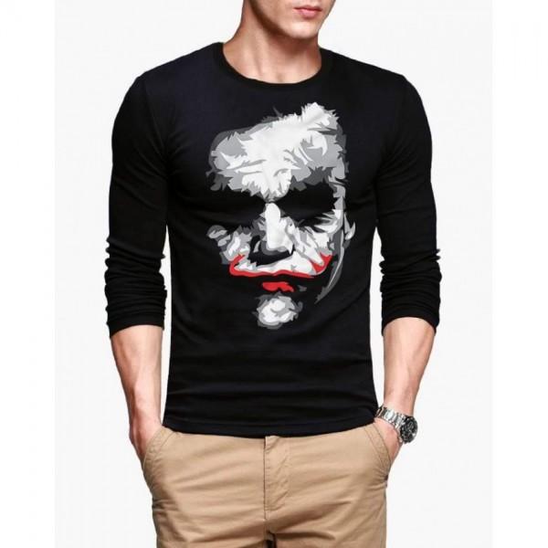 Black Full Sleeves Joker Printed Cotton T shirt For Him