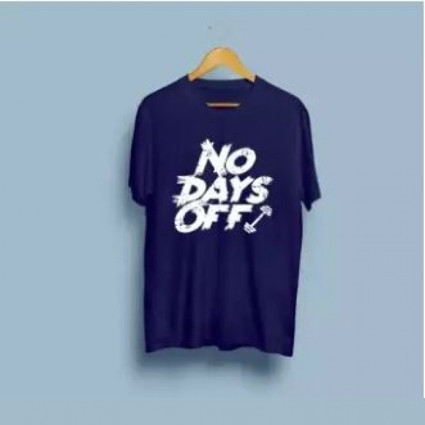 Navy Blue No Days Off Printed Cotton T shirt For Him