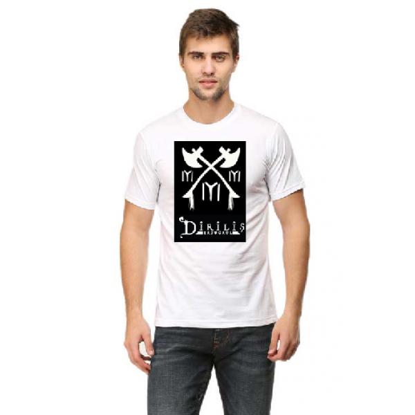 White TURGUT Printed Cotton T shirt For Him