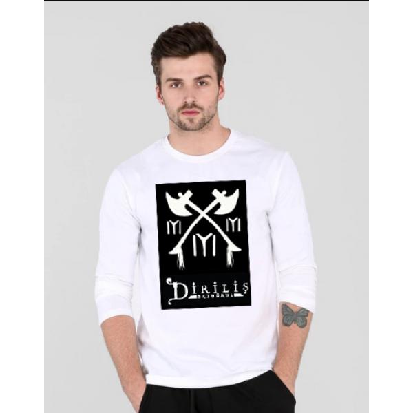 White Full Sleeves TURGUT Printed Cotton T shirt
