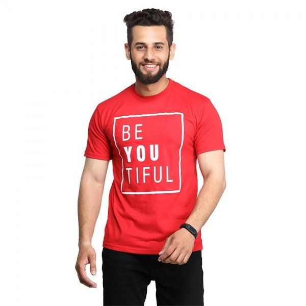 Red Half Sleeves Be-You-Tiful Printed Cotton T shirt For Him
