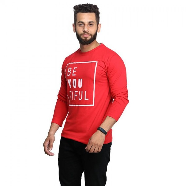 Red Full Sleeves BE-YOU-TIFUL Printed Cotton T shirt