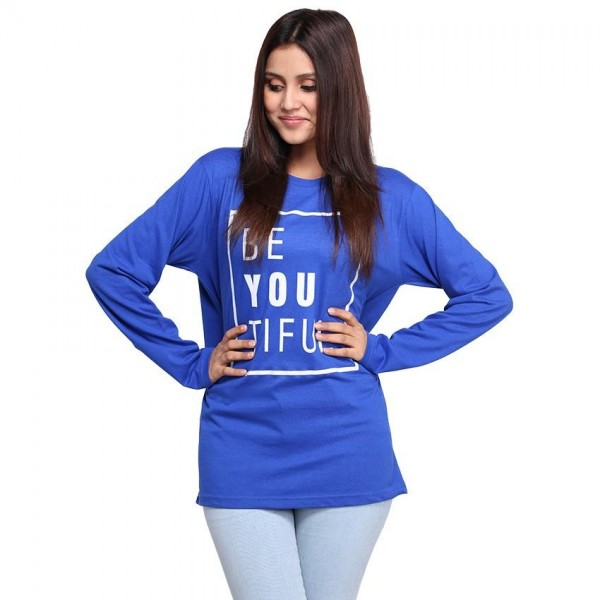 Royal Blue Half Sleeves Be-You-Tiful Printed Cotton T shirt For Her