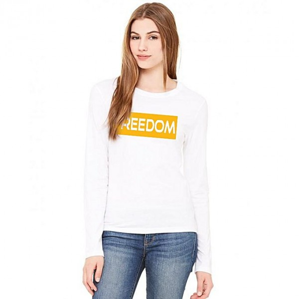 White Full Sleeves Freedom Printed T shirt For her in white