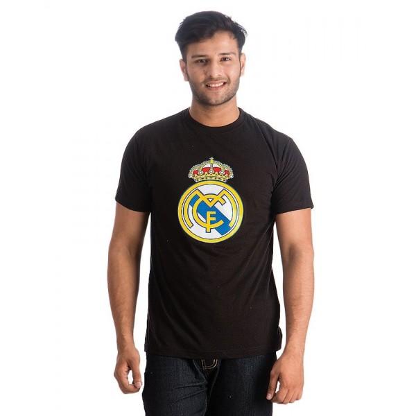 Black Madrid Printed Cotton T shirt For Him
