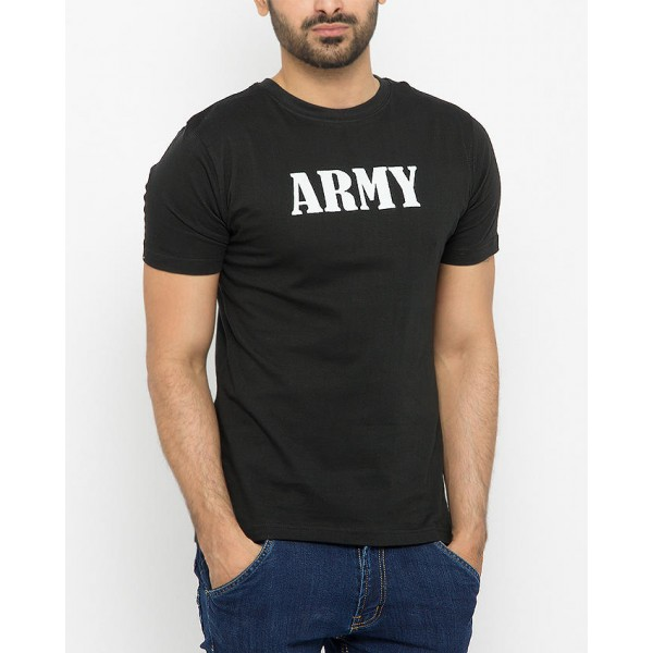 Army Graphic Black Tshirts For Mens
