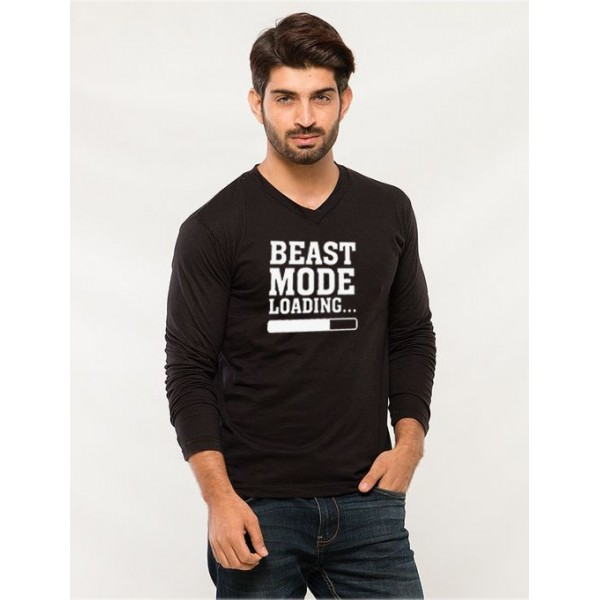 Black Full Sleeves Beast Mode Graphic T shirt for him