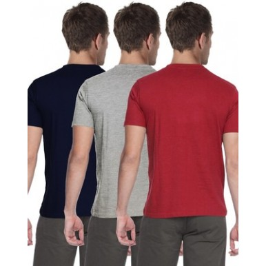 Pack of 3 Multi Color Round Neck Basic Cotton Boys Tshirt