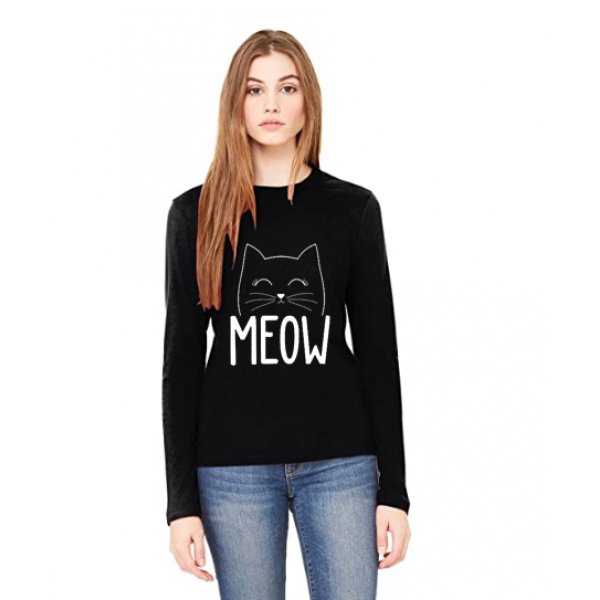 Black Full Sleeves Meow Printed Cotton T shirt For Her