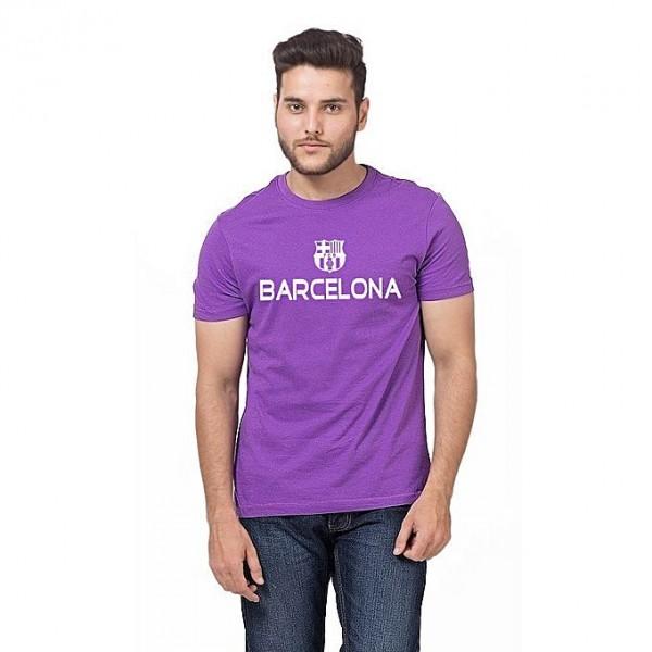 Purple Barcelona Printed Cotton T shirt