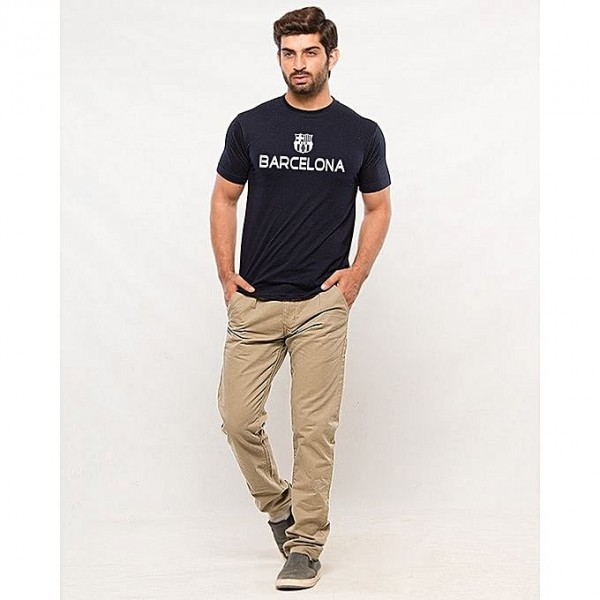 Navy Blue Barcelona Printed T-shirt