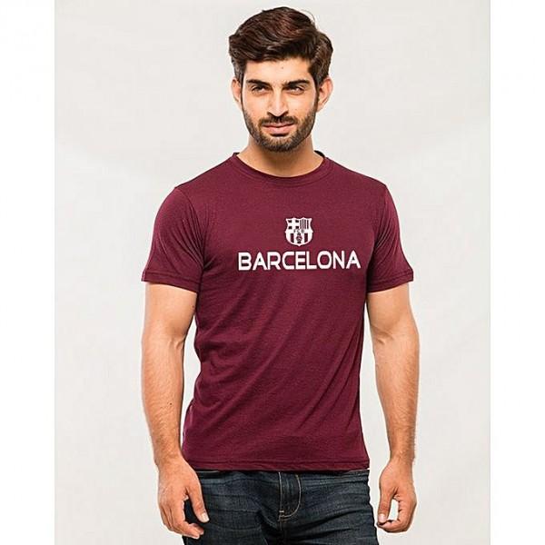 Maroon Barcelona Printed T shirt