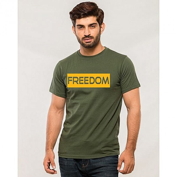 Green Freedom Printed T shirt For Him